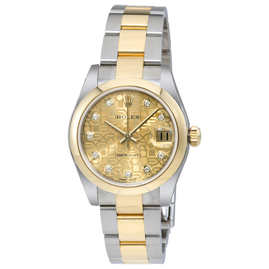 Rolex datejust champagne jubilee diamond dial steel and 18k yellow gold ladies watch 178243cjdo for Jubilee watch