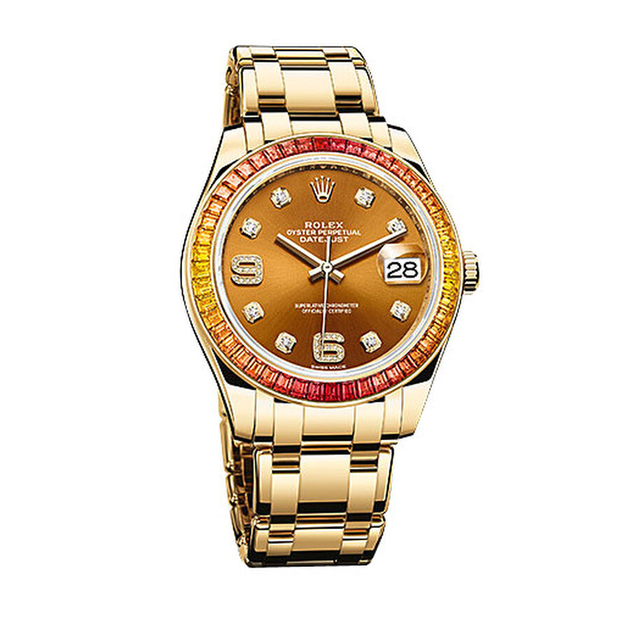 Rolex Datejust Cognac Diamond Dial Sapphire Set Bezel 18K Yellow Gold Automatic Mens Watch 86348COGD