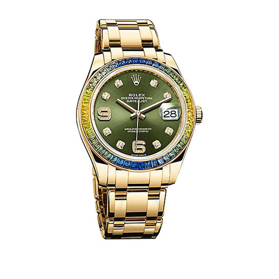 Rolex Datejust Green Diamond Dial Sapphire Set Bezel 18K Yellow Gold Automatic Mens Watch 86348GNDPM