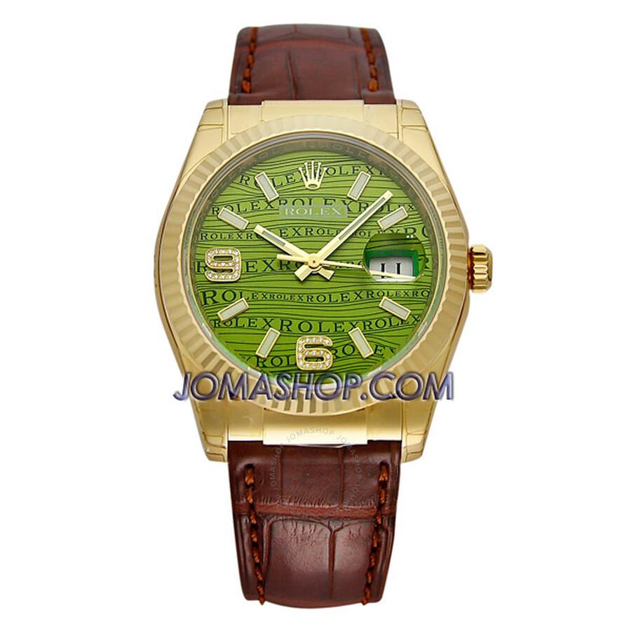 Rolex Datejust Green Jubilee Arabic Dial Fluted Bezel Leather Strap Mens Watch 116138GJASL