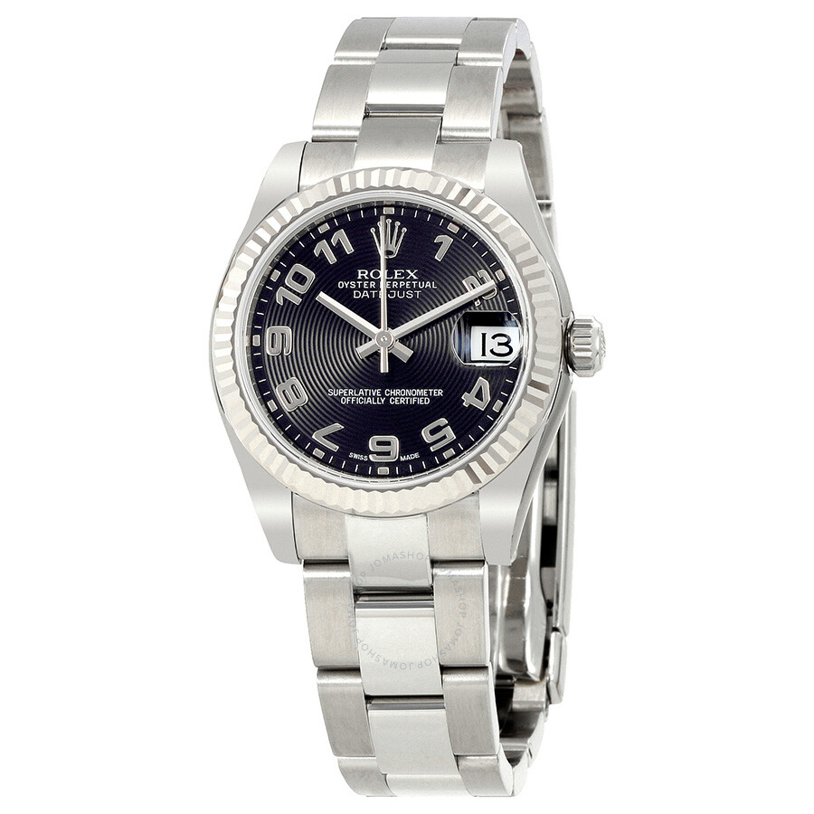 Rolex Datejust Lady 31 Black Concentric Circle Dial Stainless Steel Oyster B..
