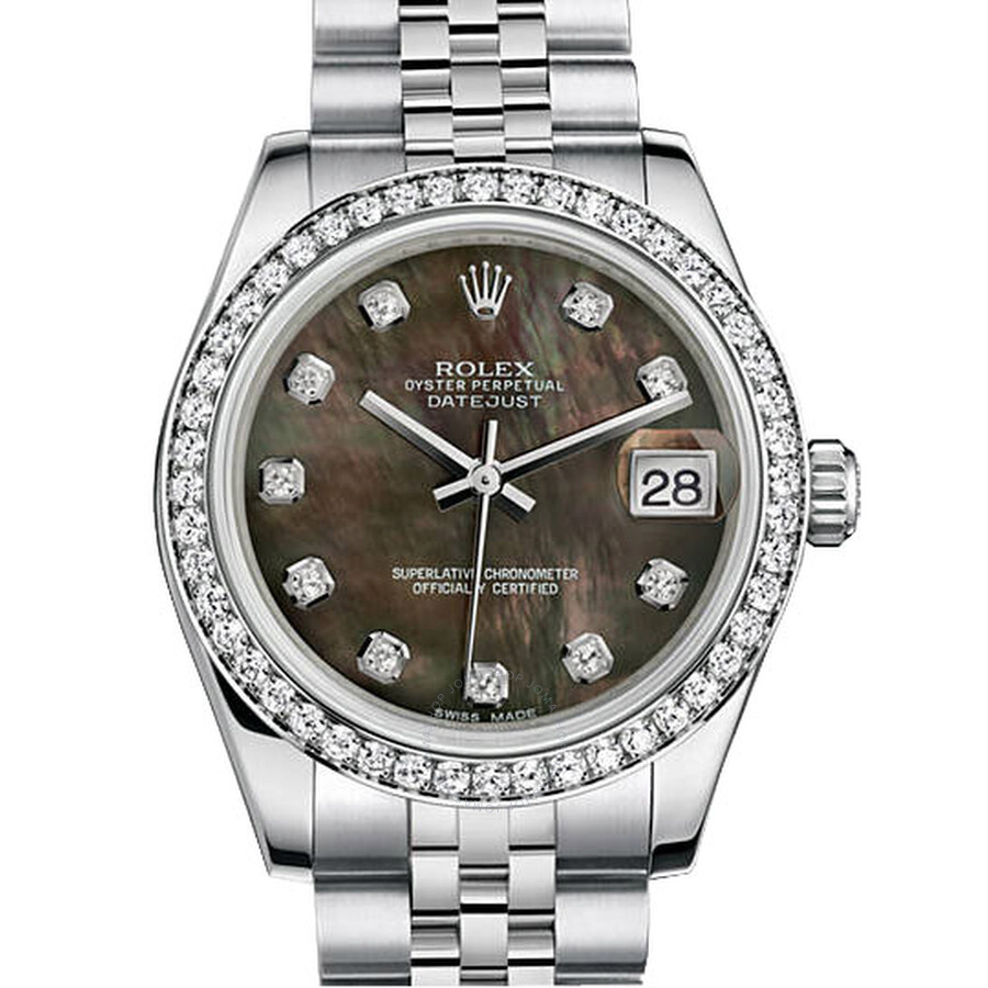 Rolex Datejust Lady 31 Black Mother of Pearl Dial Stainless Steel Jubilee Br..