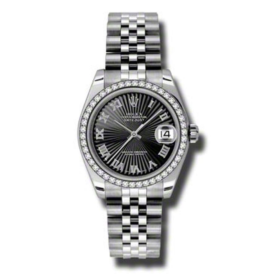 Rolex Datejust Lady 31 Black Sunburst Dial Stainless Steel Jubilee Bracelet ..