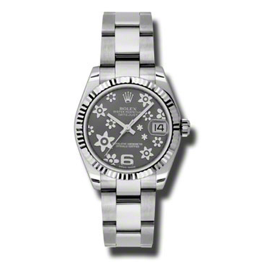 Rolex Datejust Lady 31 Dark Rodium Raised Floral Motif Dial Stainless Steel ..