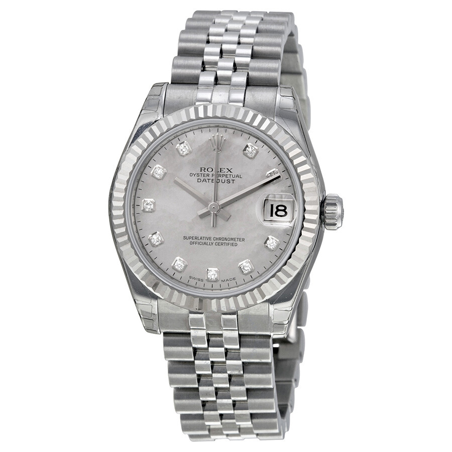 Rolex datejust lady 31 mother of pearl with diamonds dial stainless steel jubilee bracelet for Rolex date just 31