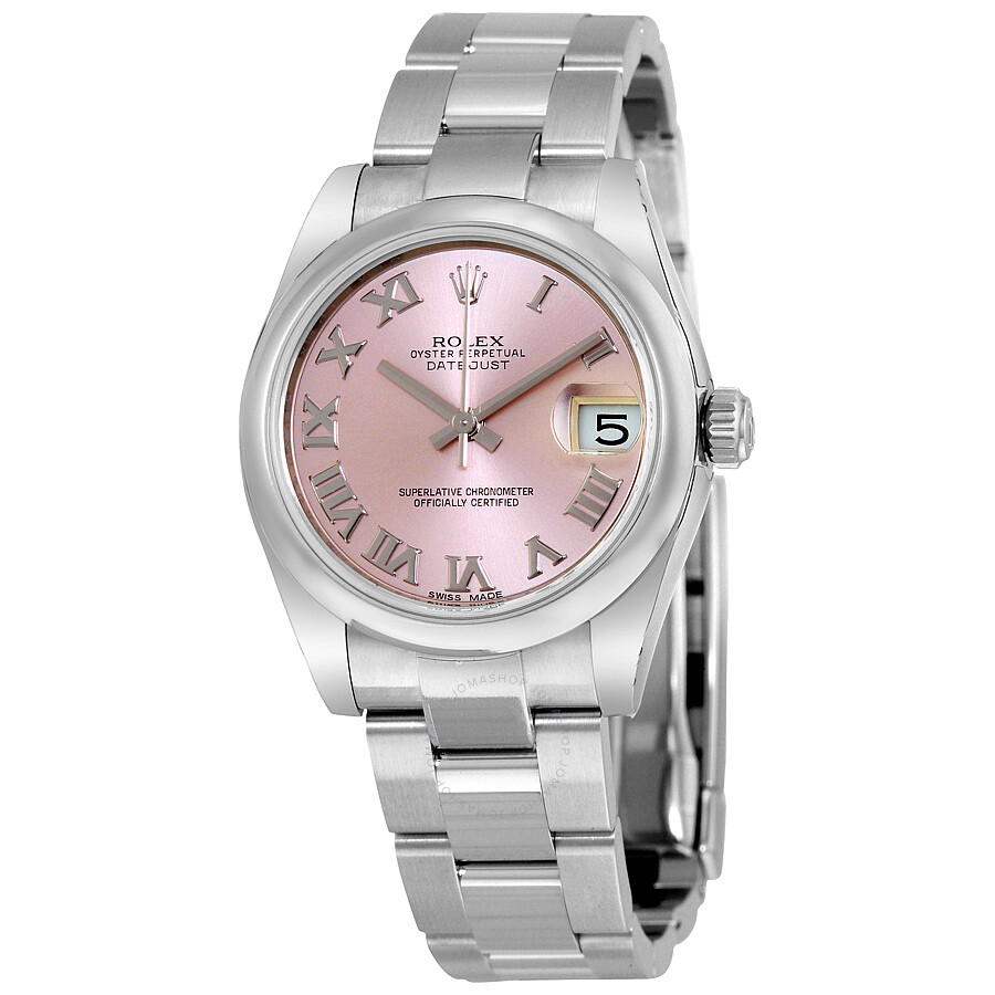 Rolex datejust lady 31 pink dial stainless steel oyster bracelet automatic watch 178240pro for Rolex date just 31