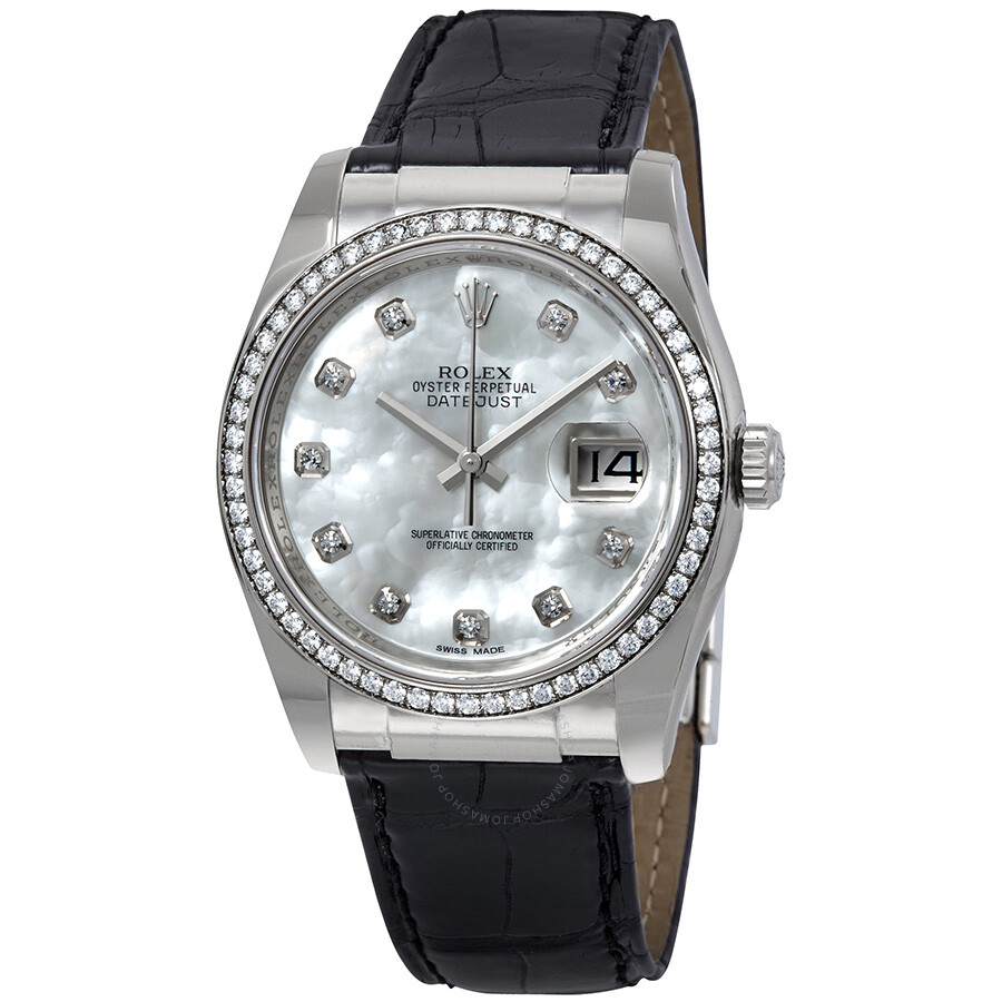 Rolex Datejust Mother of Pearl Dial Automatic Leather  Ladies Watch 116189MDL