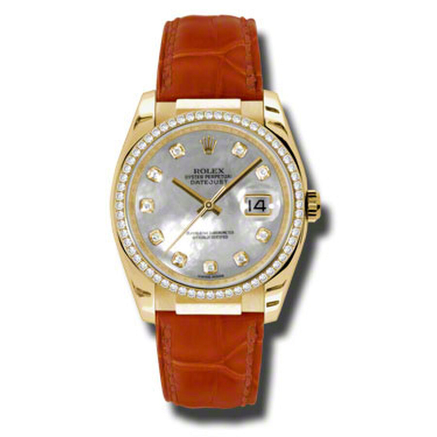 Rolex Datejust Mother of Pearl Diamond Dial Red Leather Ladies Watch 116188WMDL