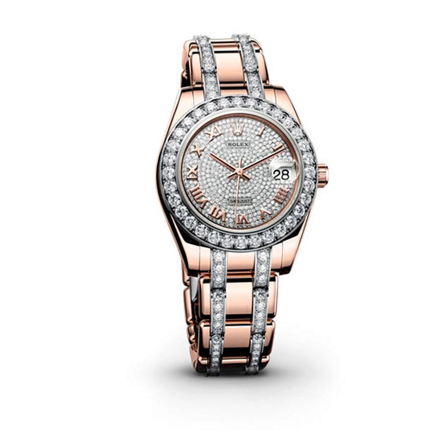 Rolex Datejust Pearlmaster 34 Diamond Pave Dial 18K Everose Gold Ladies Watch 81285CDRDPM