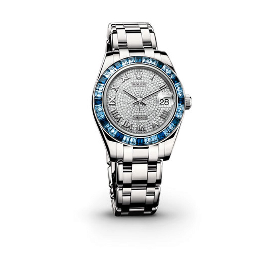 Rolex Datejust Pearlmaster 34 Diamond Pave Dial 18K White Gold Ladies Watch 81349CRRPM