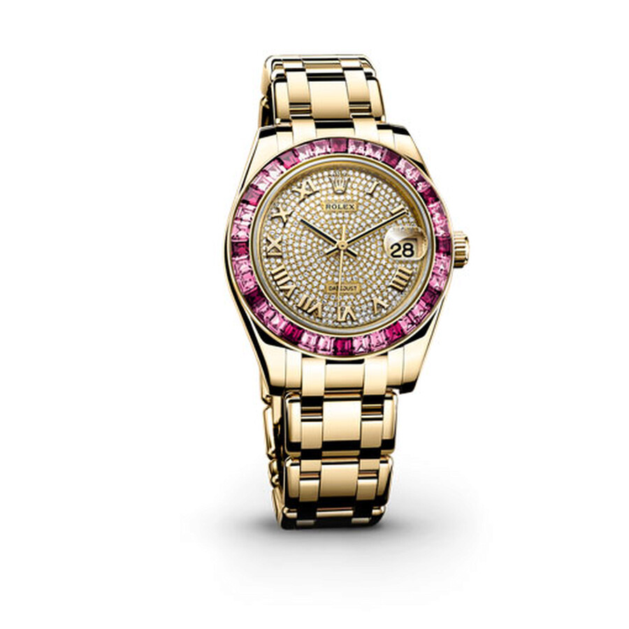 Rolex Datejust Pearlmaster 34 Diamond Pave Dial 18K Yellow Gold Ladies Watch 81348SSRPM