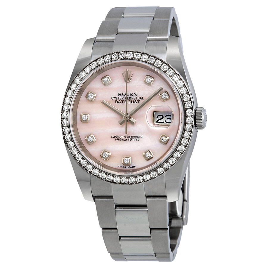 Rolex Datejust Pink Mother Of Pearl Diamond Ladies Watch