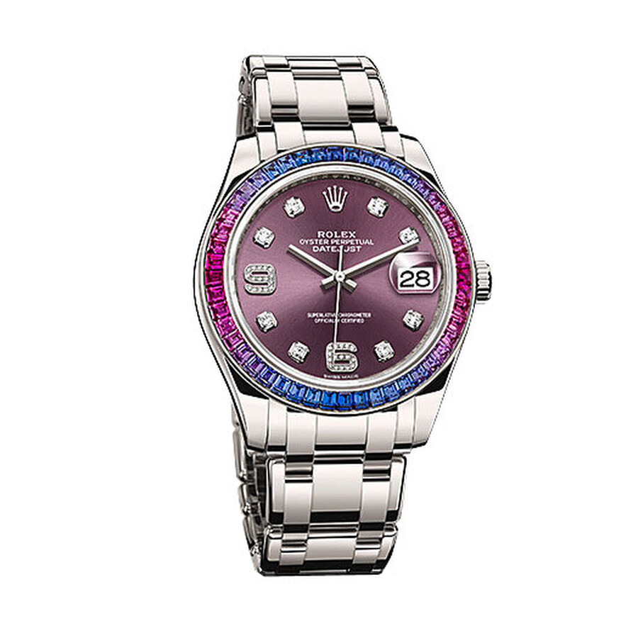 Rolex Datejust Red Grape Dial Sapphire Set Bezel 18K White Gold Pearlmaster Automatic Mens Watch 863