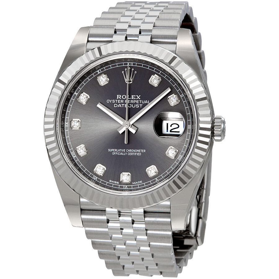 Rolex Datejust Rhodium Diamond Dial Automatic Mens Watch 126334RDJ