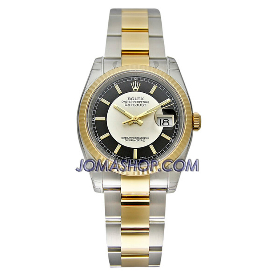 Rolex Datejust Silver Center Black Index Dial Oyster Bracelet Two Tone Mens Watch 116233BKSSO