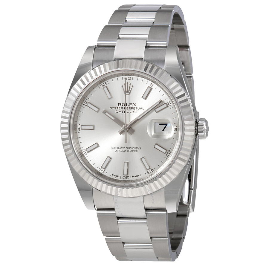 Rolex Datejust Silver Dial Automatic Mens Oyster Watch 126334SSO