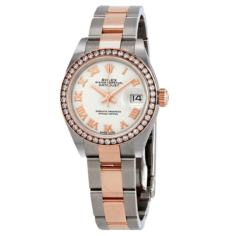 Rolex Datejust White Dial Automatic Ladies Steel and 18K Oyster Watch 279381..