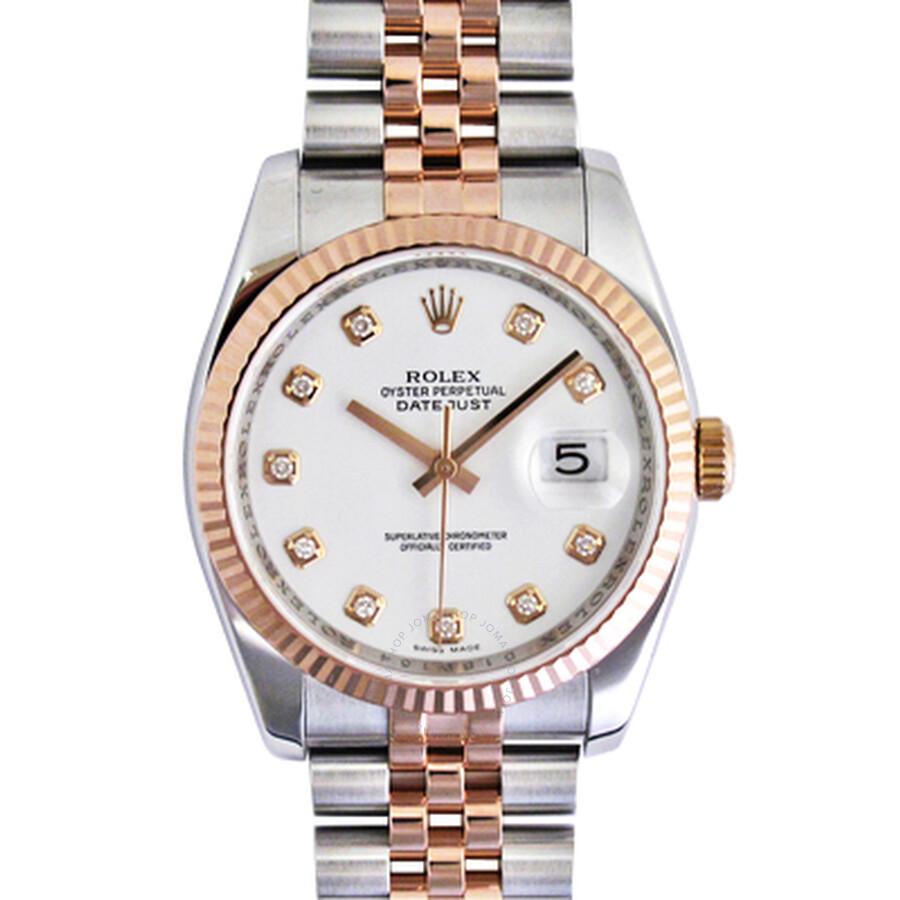 Rolex Datejust White Diamond Dial Fluted 18k Rose Gold Bezel Jubilee Bracelet Mens Watch 116231WDJ