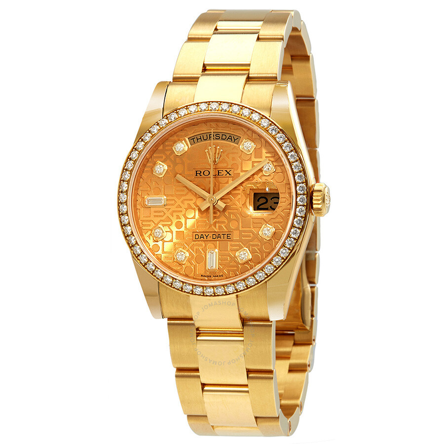 Rolex day date 36 champagne jubilee dial automatic diamond ladies 18kt yellow gold oyster watch for Rolex day date 36