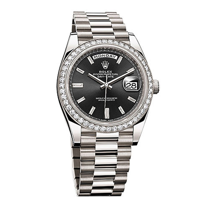Rolex Day Date Black Baguette Diamond Dial 18K White Gold Automatic Mens Watch 228349BKDP