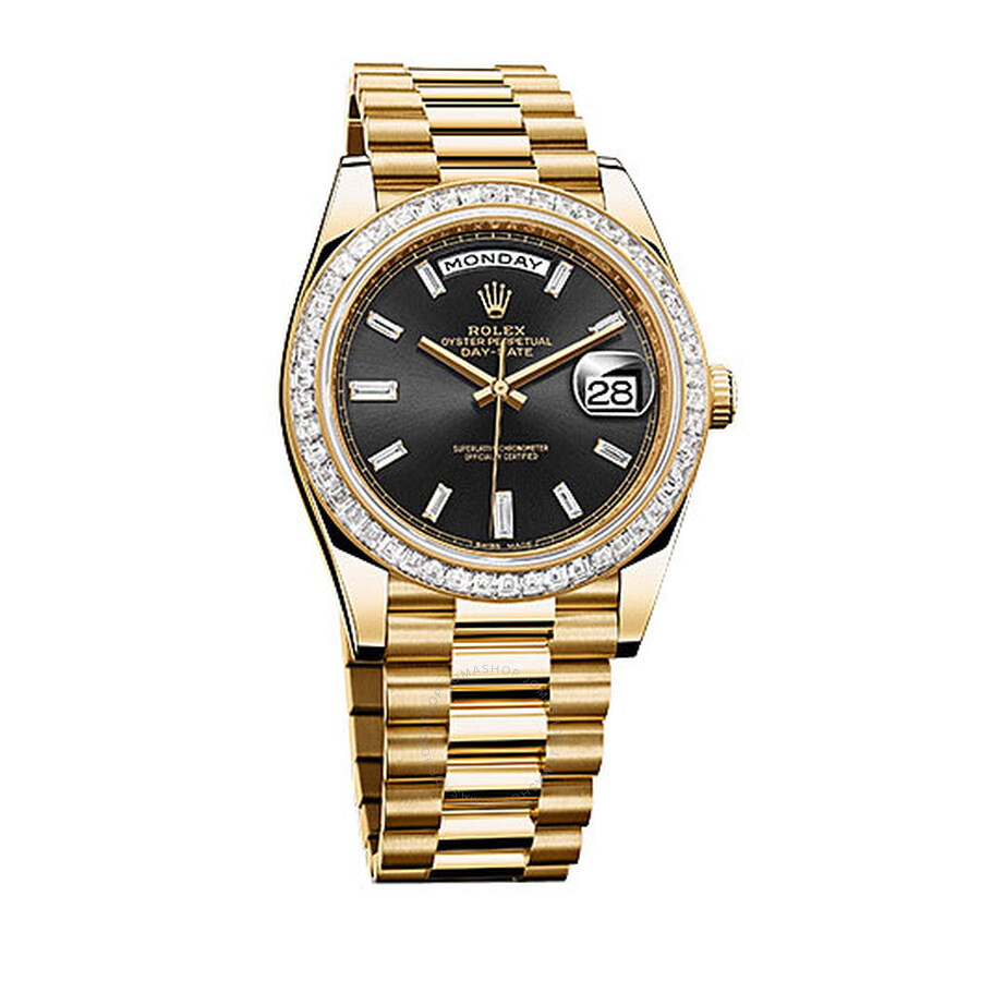 Rolex Day Date Black Baguette Diamond Dial 18K Yellow Gold Automatic Mens Watch 228398BKDP