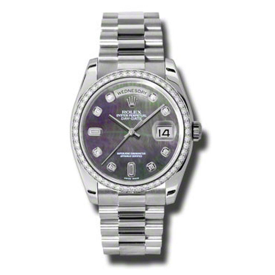 Rolex Day-Date Black Mother Of Pearl Dial Platinum President Automatic Ladie..