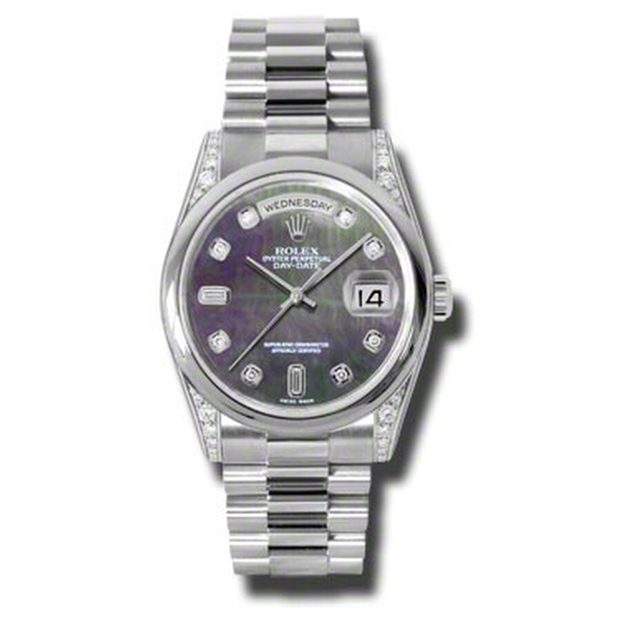 Rolex Day-Date Black Mother Of Pearl Dial Platinum President Automatic Mens ..
