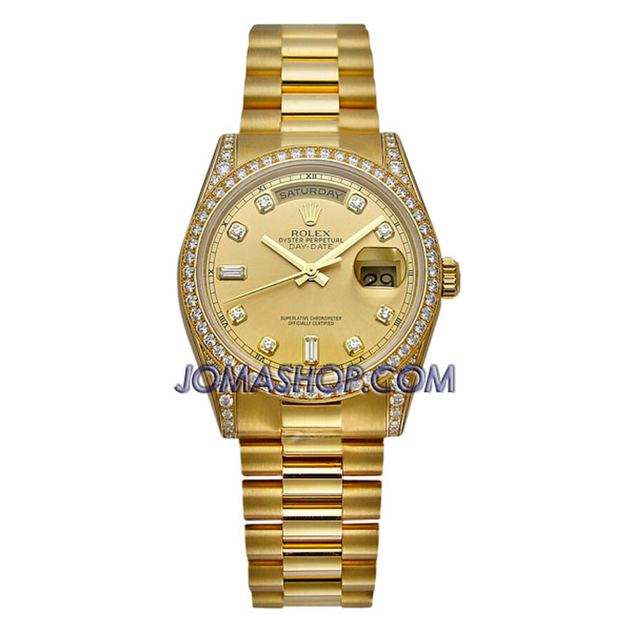 Rolex Day Date Champagne Diamond President Bracelet 18k Yellow Gold Mens Watch 118388CDP