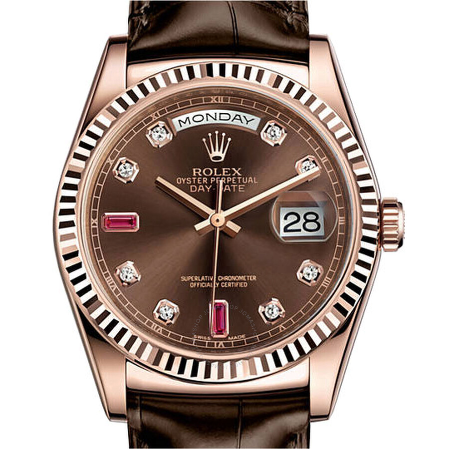 Rolex Day-Date Chocolate Brown Diamond and Ruby Dial Leather Automatic Mens Watch 118135CDL