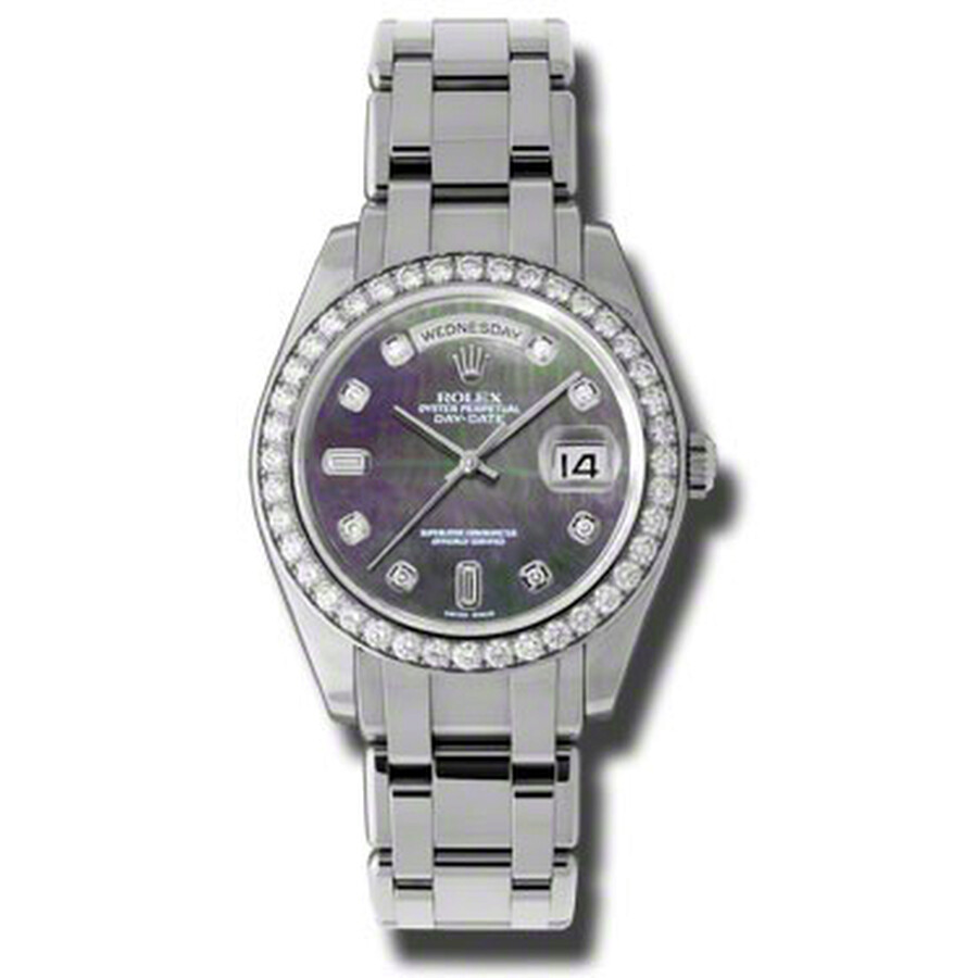 Rolex Day-Date Dark Mother Of Pearl Diamond Dial Platinum Automatic Mens Wat..
