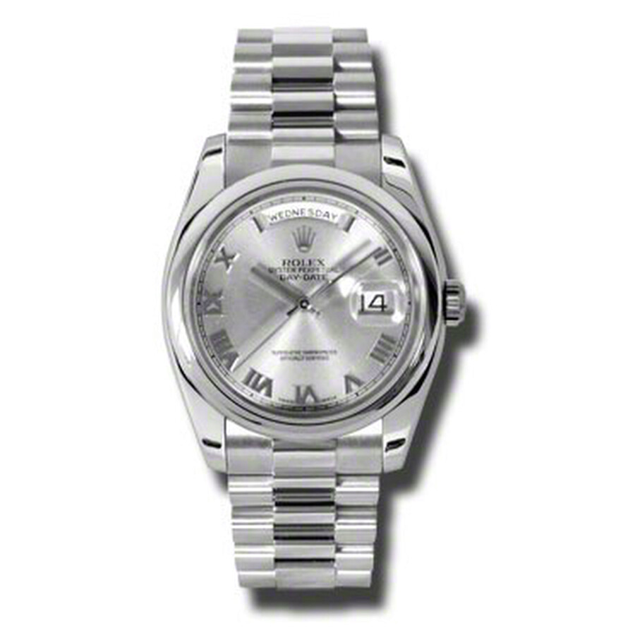 Rolex Day-Date Grey Dial Platinum President Automatic Mens Watch 118206GYRP