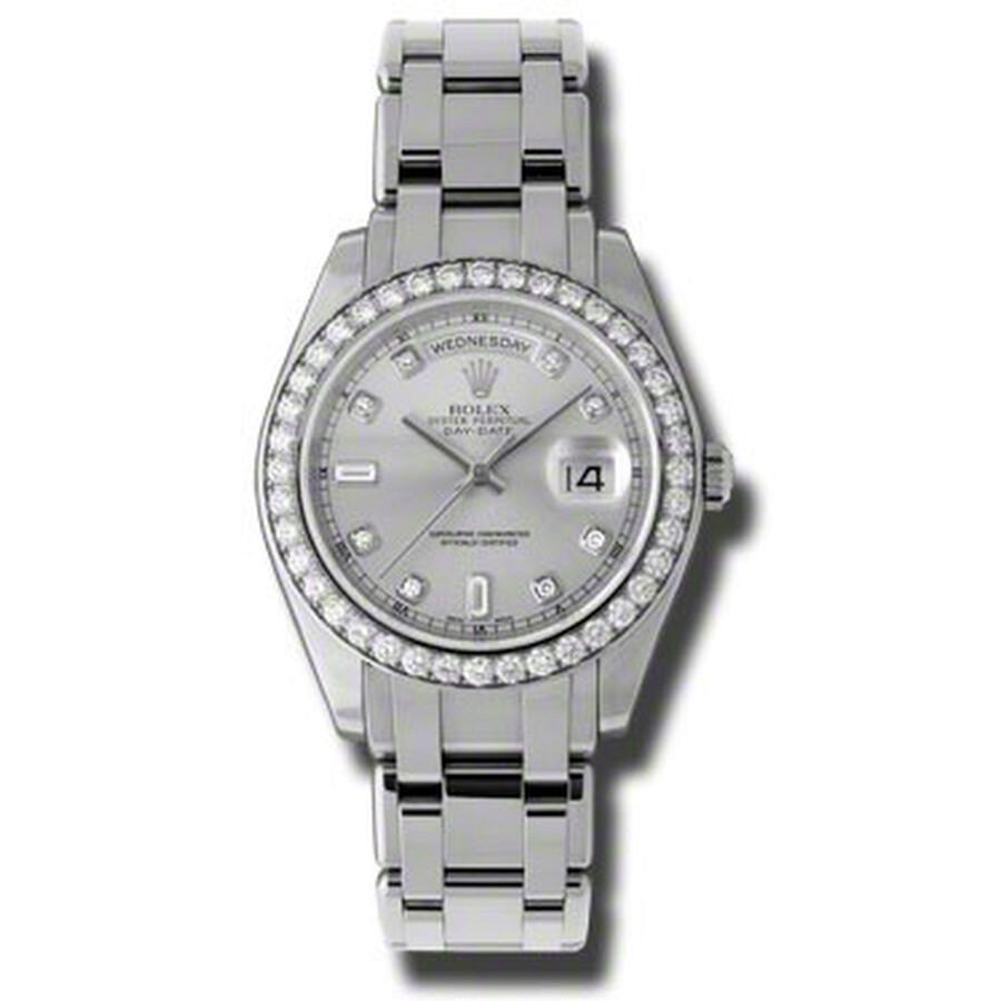 Rolex Day-Date Grey Diamond Dial Platinum Automatic Mens Watch 18946GYDPM