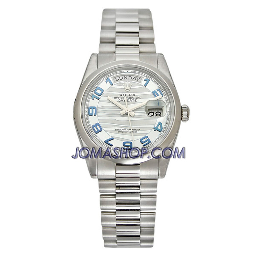 Rolex Day-Date Ice Blue Wave Dial Platinum President Automatic Mens Watch 11..