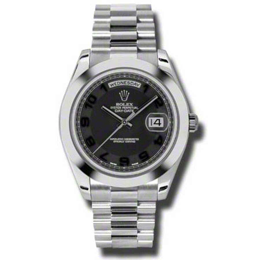 Rolex Day-Date II Black Concentric Dial Platinum President Automatic Mens Wa..