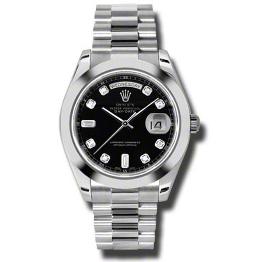 Rolex Day-Date II Black Dial Platinum President Automatic Mens Watch 218206B..