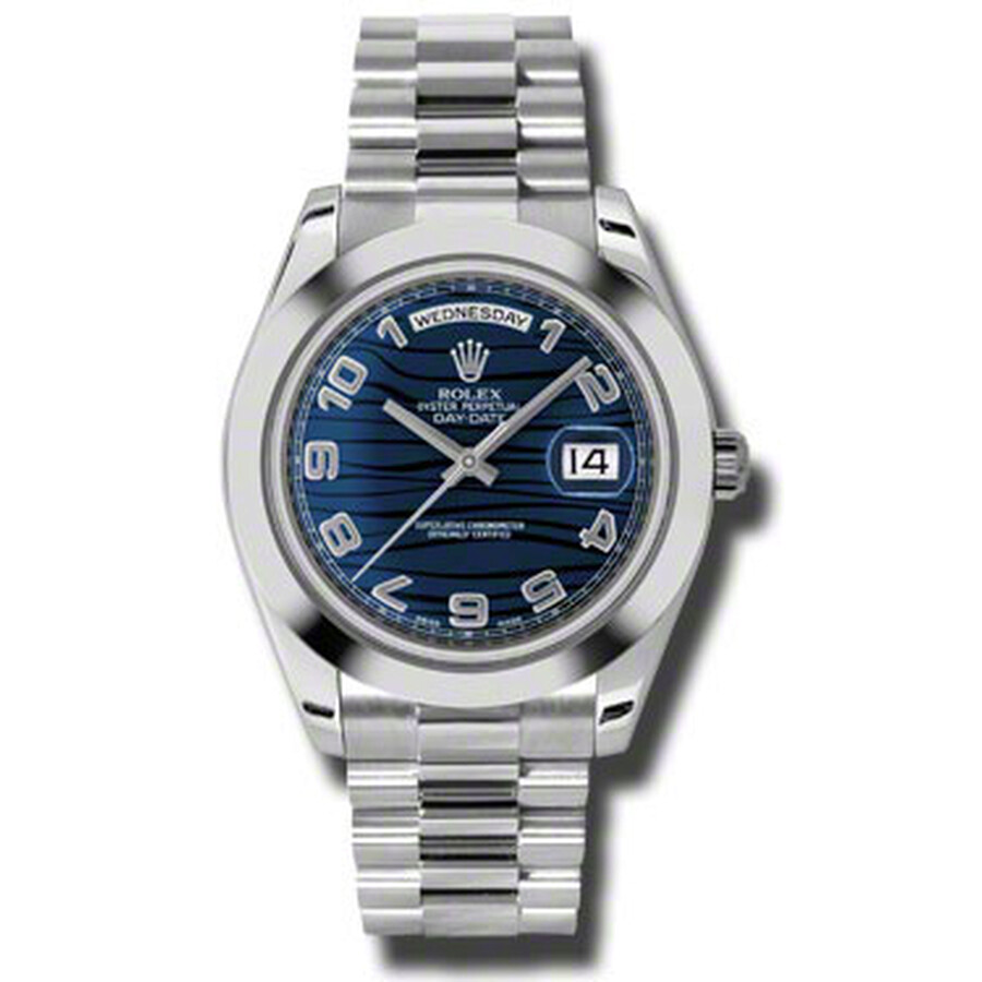 Rolex Day-Date II Blue Wave Dial Platinum President Automatic Mens Watch 218..