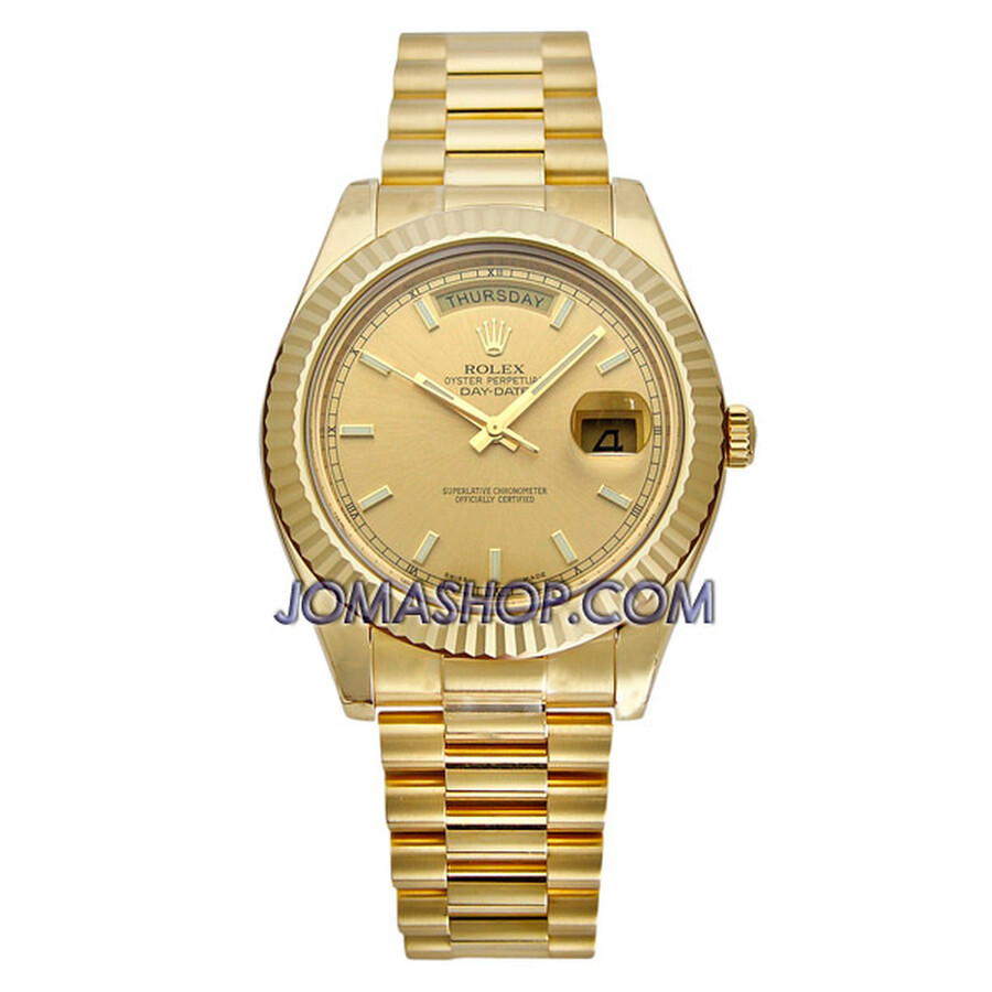 Rolex Day Date II Champage Index Dial President Bracelet 18k Yellow Gold Mens Watch 218238CSP