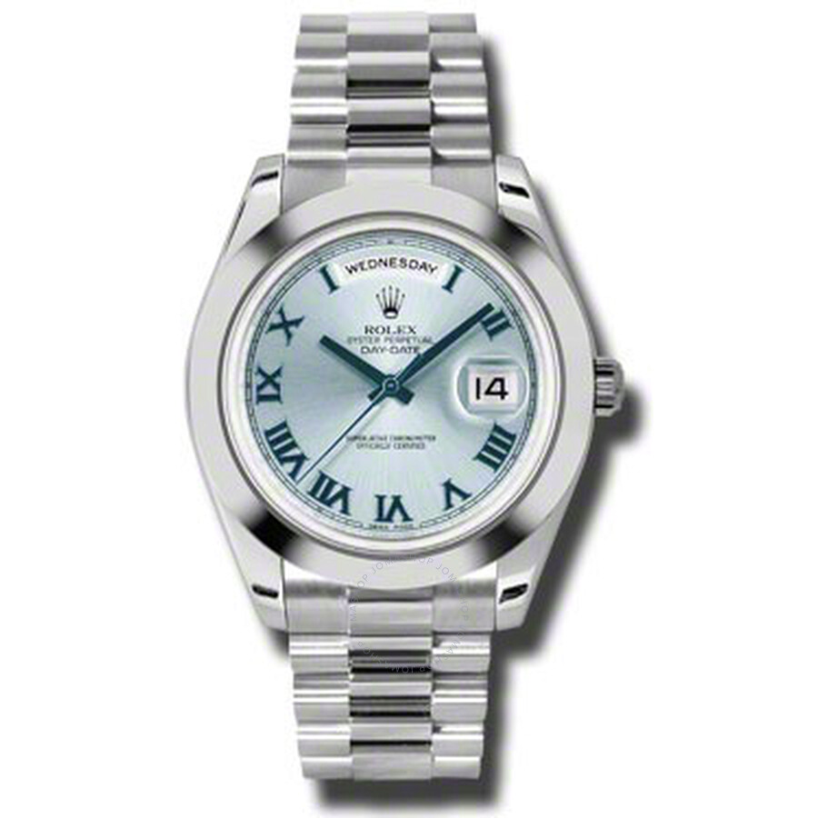 Rolex Day-Date II Ice Blue Dial Platinum President Automatic Mens Watch 2182..