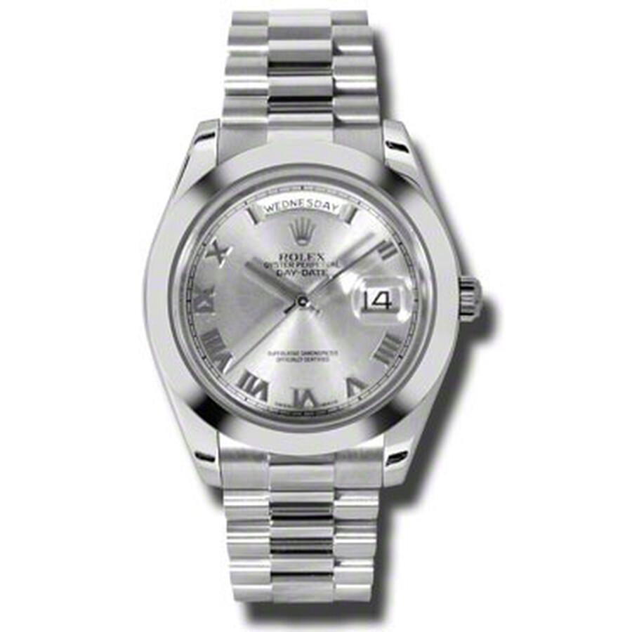 Rolex Day-Date II Rhodium Dial Platinum President Automatic Mens Watch 21820..