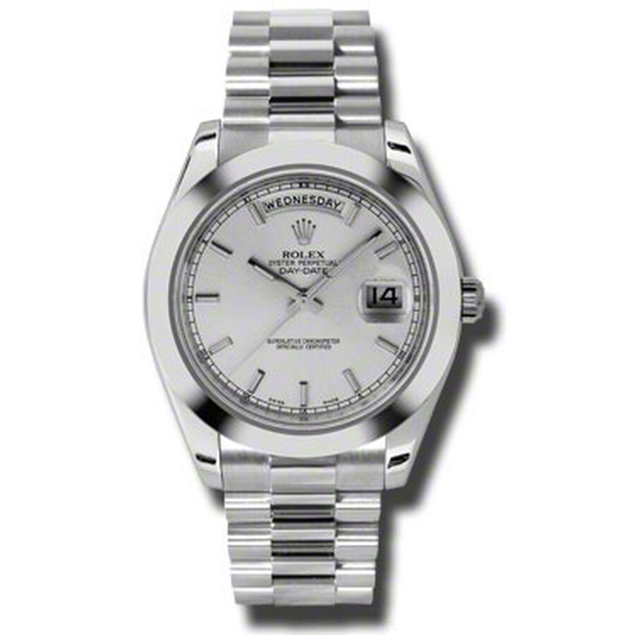 Rolex Day-Date II Silver Dial Platinum President Automatic Mens Watch 218206..
