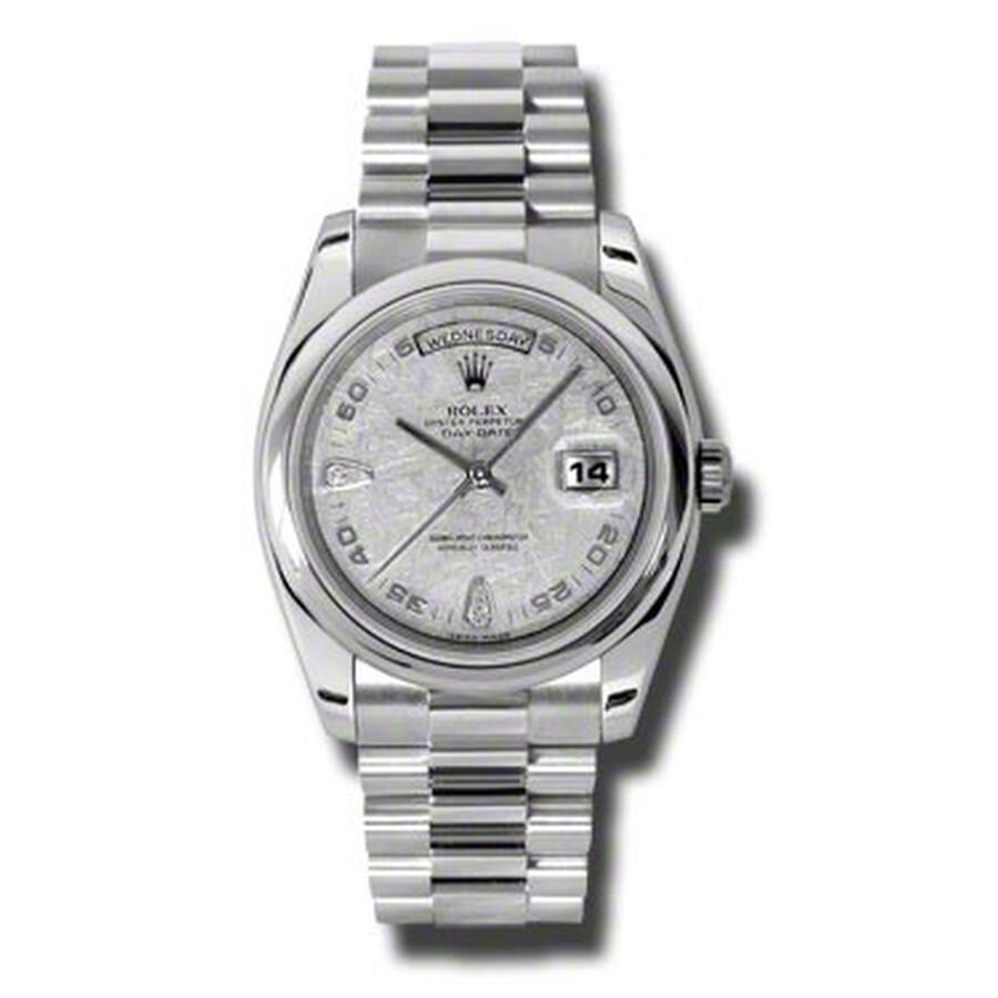 Rolex Day-Date Meteorite Dial Platinum President Automatic Ladies Watch 1182..
