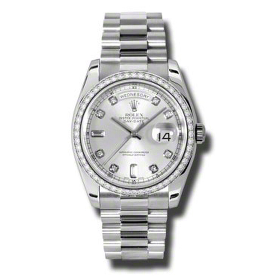 Rolex Day-Date Silver Dial Platinum President Automatic Ladies Watch 118346SDP