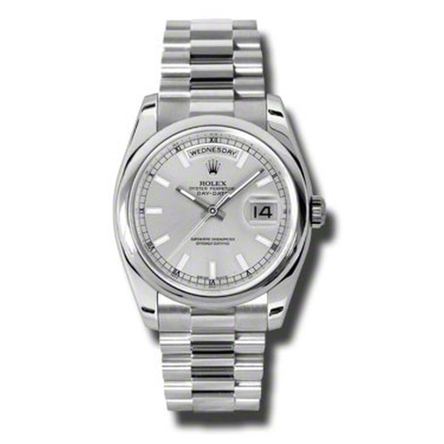 Rolex Day-Date Silver Dial Platinum President Automatic Mens Watch 118206SSP