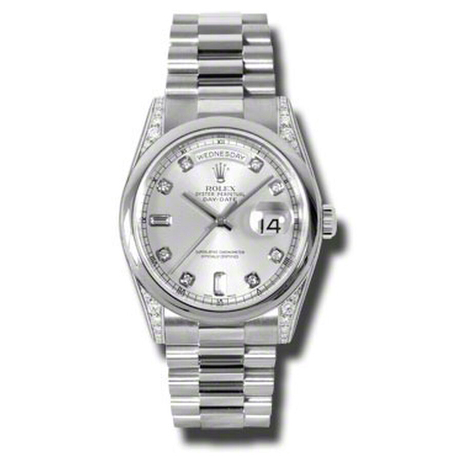 Rolex Day-Date Silver Dial Platinum President Automatic Mens Watch 118296SDP