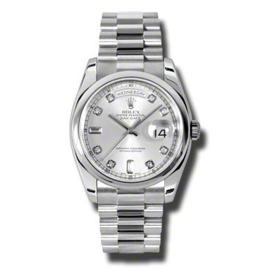Rolex Day-Date Silver Dial Platinum President Automatic Mens Watch 118206SDP