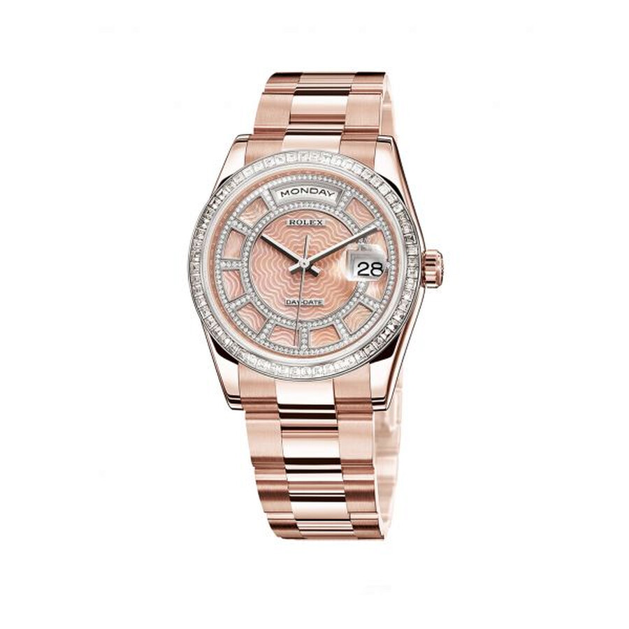 Rolex Day-Date Carousel of Pink Mother of Pearl Dial 18ct Everose gold Automatic Unisex Watch 118395