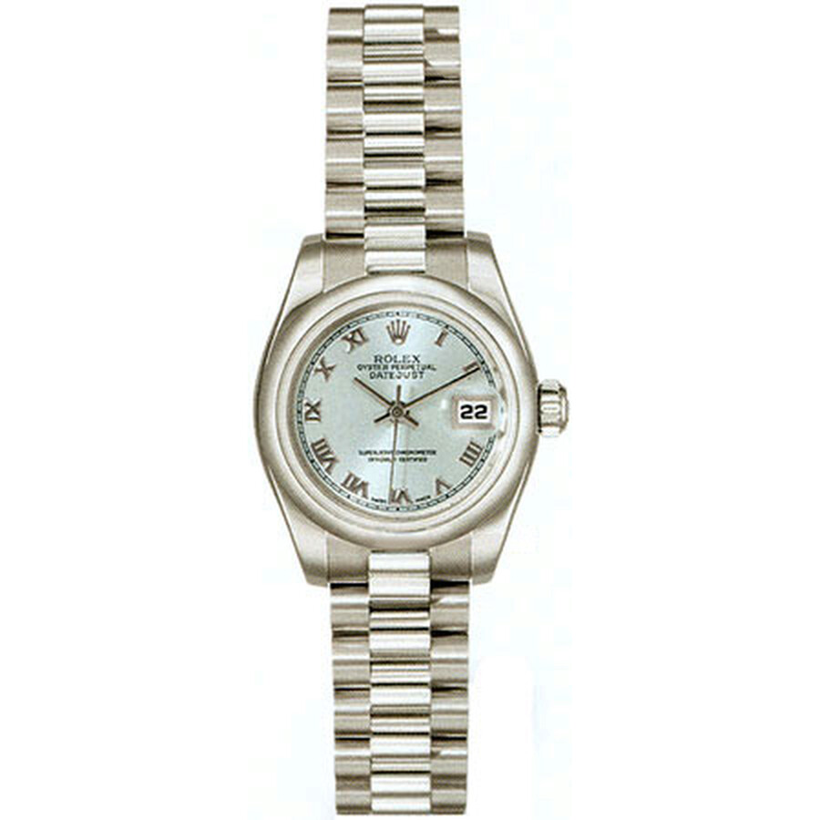 Rolex Lady-Datejust 26 Blue Dial Platinum President Automatic Ladies Watch 1..