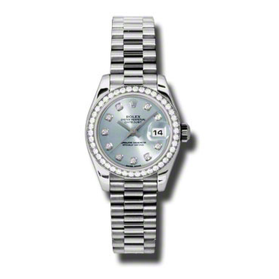 Rolex Lady-Datejust 26 Ice Blue Dial Platinum President Automatic Ladies Wat..