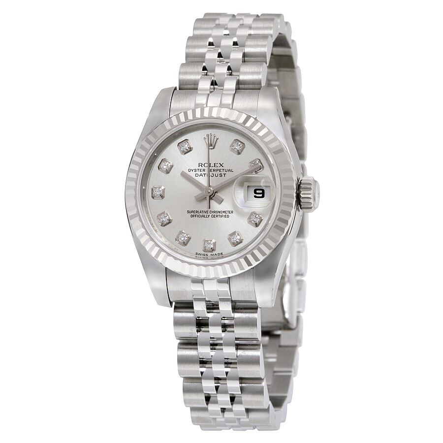 Rolex lady datejust 26 silver dial stainless steel jubilee bracelet automatic watch 179174sdj for Jubilee watch