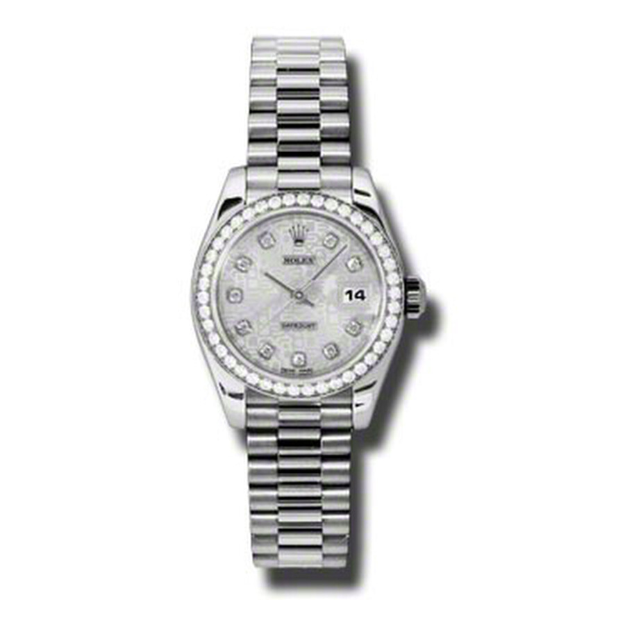 Rolex Lady-Datejust 26 Silver Dial Platinum President Automatic Ladies Watch..
